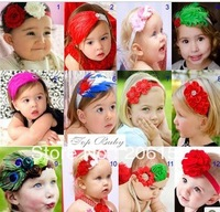 2013 New Baby Feather Headbands Baby Hair Accessiries 12 pieces/lot free shipping