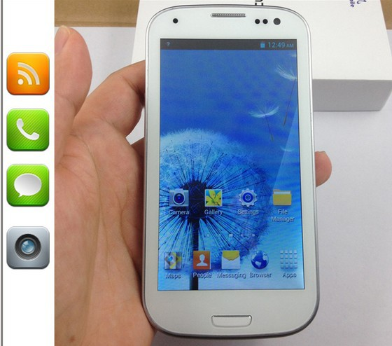 Free shipping i9300 S3 Mobile Phone 4.8 Inches GPS WIFI MTK 6577 Dual Core 8 Million Pixels Support Russian Language + Free gift(China (Mainland))