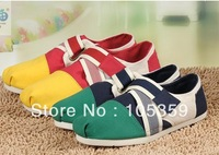 10piece 2013 new spell color Velcro women's canvas shoes, fashion casual shoes free shipping