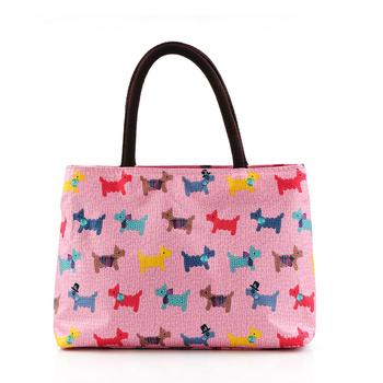 Free shipping Fog flower canvas handbag women's tote lunch bag multi purpose small bag 2013