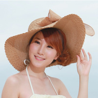 2013 bandeaus large along the strawhat sun-shading hat female summer outdoor sunscreen large brim beach hat sun hat