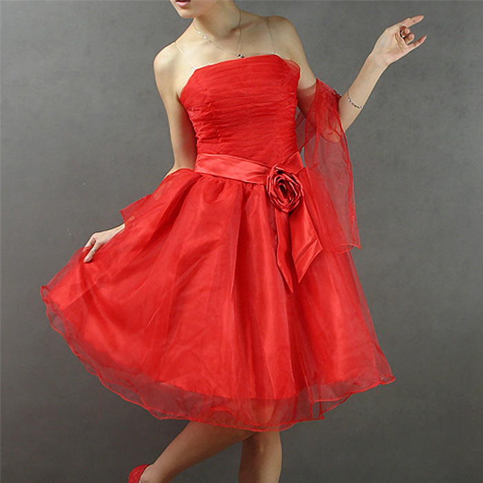 Popular red wedding dress design short wedding dress b2119 champagne white powder .(China (Mainland))