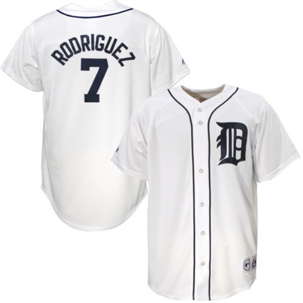 free shipping white gray Detroit Tigers # 7 Rodriguez baseball cheap adult men jersey with brand Embroidery logo(China (Mainland))