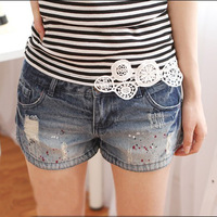 New arrival 2013 female distrressed shorts side zipper denim shorts female summer short trousers