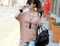 Free shipping loose cotton letter printed off the shoulder t shirt tops for women 2013 summer Black White Champagne