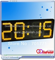 12 inch big yellow time temperature digital led clock