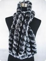 Lady Fashion Winter Knitted Rex Rabbit Fur Scarves Women Fur Pashmina Wraps Neck Rings VK0523