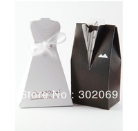 Tuxedo And Gown Favor Box With White Ribbon