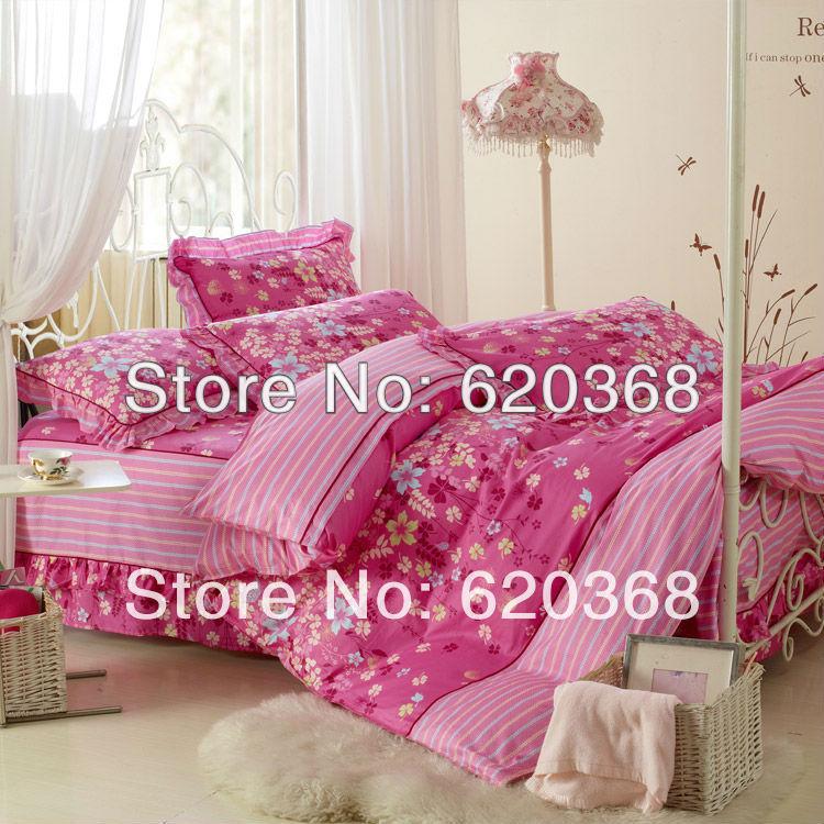 De alta classe estilo Coréia princesa Rei & rainha 4PCS impressão 100% algodão capa de edredão set conjunto de folhas de cama de luxo(China (Mainland))