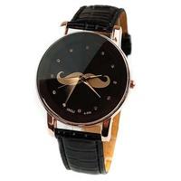 2014 New British Style Mustache Leather Belt Quartz Watches Women Men Fashion Dress Table Watch 4 Colors Top Quality