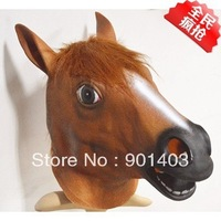 fFree shipping Creepy Horse Mask Head Halloween Costume Theater Prop Novelty Latex Rubber