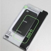 Q-sim dual sim card adapter+black case/cover for iphone 4 and iphone 4s