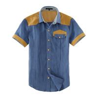 2013 spring male short-sleeve shirt linen men's clothing plus size shirt summer color block decoration clothes