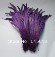 Free shipping Wholesale 100pcs a lot 12-14inches/30-35cm purple Dyeing Loose Rooster Tail Feathers For Dress/Hats Trims