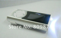 New Mini clip mp3 player gift 1.1'' OLCD screen flashlight card slot support TF card Free Shipping