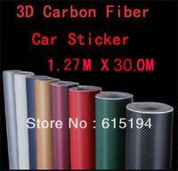 "Free Shipping by EMS 1Roll 1.27M * 30M (50*1181"", 127cm * 3000cm) 3D carbon fiber vinyl car wrap film-many color option"