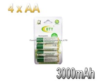 BTY AA Ni-MH Rechargeable Battery Pack 3000Mah Up To 1100 Cycles