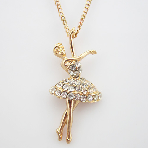 24K Gold Plated Full Rhinestone Little Dancing Ballet Girl(4.4*2cm) Necklace Chian 1PC(China (Mainland))