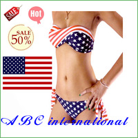 New Hot Sexy Lady's Padded Twisted Tie Side Bikini AMERICAN US Flag Swimsuit Free Shipping Bra Protect sea swimwear beach