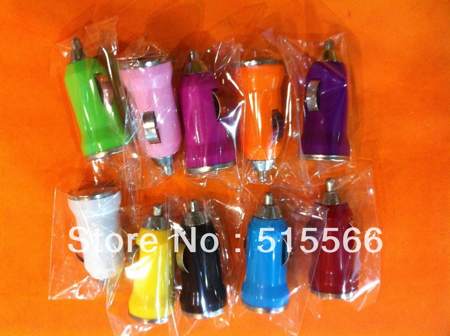 Mini USB Car Charger Colors for Choice Car Adapter for all phones, IPAD,IPOD, PDA, MP3, MP5 50pcs/lot free shipping(China (Mainland))
