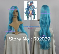 FREE SHIPPINGN Mermaid Melody Hanon Hosho cosplay wig 100cm curly wig 39inch wig blue wig