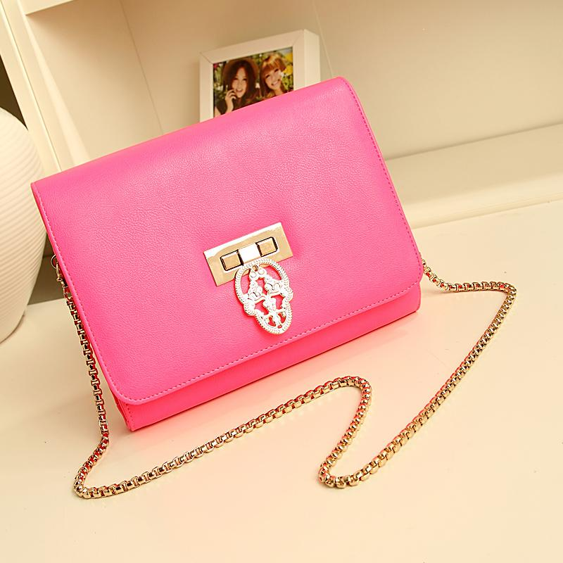Free shipping 2013 bag female day clutch evening bag neon color chain bag candy bag vintage women's handbag skull bag(China (Mainland))
