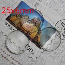 50pcs/LOT 25*6mm Clear Round Cabochon Glass Dome Tile Seals Fit Cameo Settings Pendants(China (Mainland))