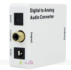 Digital to Analog Audio Converter Adapter Coaxial SPDIF/Toslink to L/R RCA shipping for free(China (Mainland))