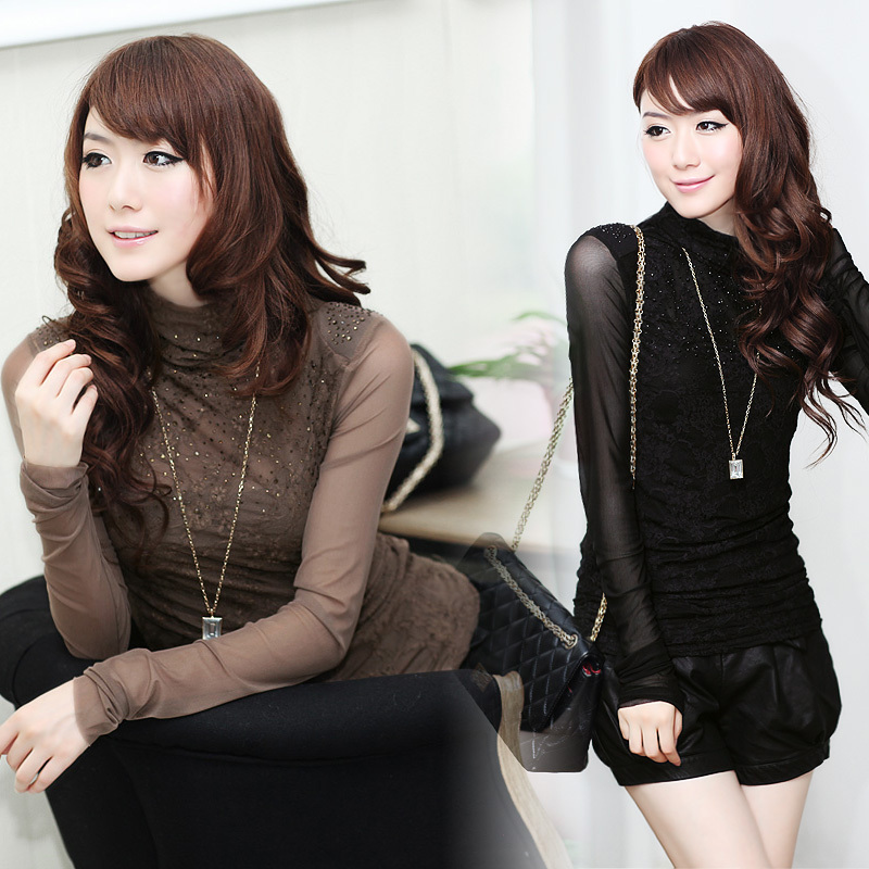 Spring turtleneck diamond slim gauze lace shirt basic shirt long-sleeve T-shirt coffee black female(China (Mainland))