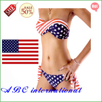 Free Shipping Summer Women Sexy Stars & Stipes Partterns Bikini with Padded Twisted Swimsuits Ladies Swimwear 1set American Flag