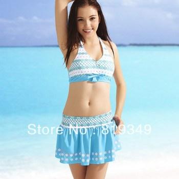 2013 NEW Arrival VANCL Women Swimsuit Karley Graphic Three-Piece Sexy Bikini Set Full Cut Back Mini-Cut Skirt Blue FREE SHIPPING