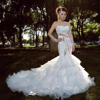 HOT SALE 2014 Luxury royal lace Sheath Short trailing fish tail wedding dresses Gowns Princess Bridal slim boda vestido de noiva