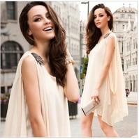 Fashion winny noble elegant sexy nude color beads epaulette elegant sweet loose one-piece dress