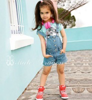2013 new arrive Wholesale nice girls summer wear 2pcs set cotton top shirt+Suspenders 2 set clothes free shipping