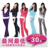 Spring 2013 velvet sports set Women casual set sweatshirt velvet sportswear
