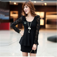 Extra large women's mm summer 2013 bag fashion long-sleeve plus size plus size lace one-piece dress