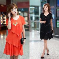 2013 plus size clothing summer mm one-piece dress slim chiffon one-piece dress short-sleeve female