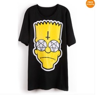 Free Shipping 2013 New Short Sleeve Simpson Cross Print T-Shirt Black White Pink