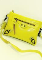 2013 fashion genuine leather female Women leather motorcycle day clutch messenger bag candy color small bag