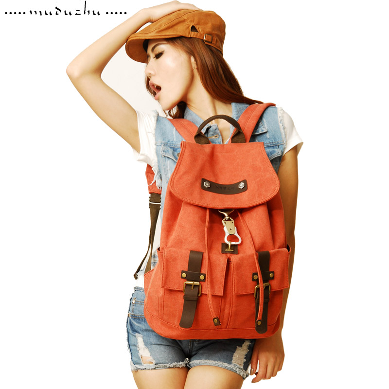 Wood pig thickening canvas backpack student school bag double-shoulder casual travel bag computer backpack(China (Mainland))