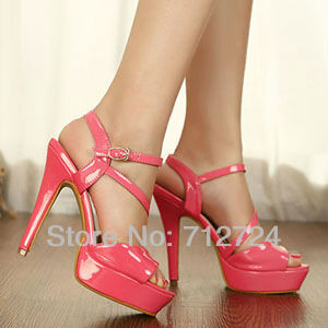 Free shipping! Red PU Leather Hot Sale Fashion Lady Platform Stiletto High Heels Strap Sandals Shoes(China (Mainland))
