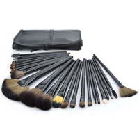 Big Discount ! 24pcs Cosmetic Facial Make up Brush Kit Makeup Brushes Tools Set + Leather Case TY160,Free Shipping