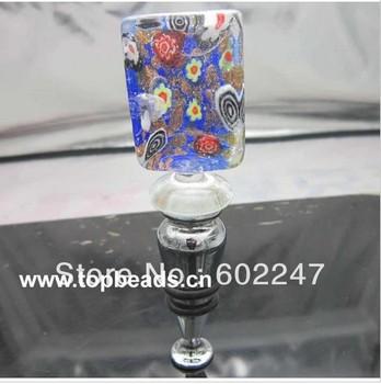 Free Shipping Art Blue Flower Glass Wine Bottle Stopper, & a Black Gift box free