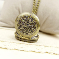 New year gift enmex vintage long necklace ladies watch bronze color lucky flower necklace table