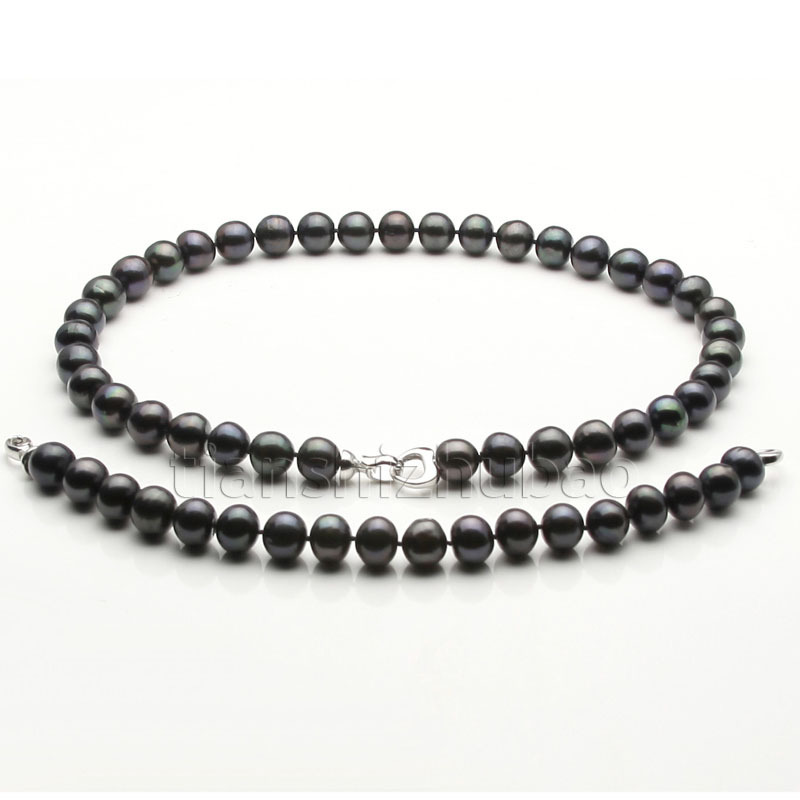 "533 Hot sell A 10-11mm black Cultured freshwater akoya pearl necklace bracelets 17""-7.5"" Shipping worldwide(China (Mainland))"