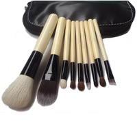 9 PCS Set Pro Cosmetic Make up Brush Tool Kit + Zipper Leather Pouch Case Free Shipping