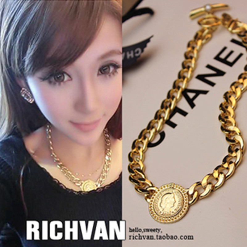 same paragraph lion avatar coin the crude chain necklace antique clavicle chain,vintage choker necklaces(China (Mainland))