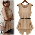 Fashion women's 2013 vintage slim waist sleeveless chiffon one-piece dress