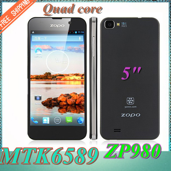 "Free Shipping ! Luxury MTK6589 smart phone Quad core 16GB ROM 1GB RAM Android 4.2 mobile phone 5.0"" HD ZOPO ZP980 phone(China (Mainland))"