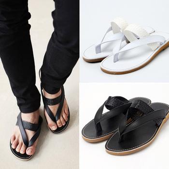 Summer male flip flops shoes fashion male genuine leather slip-resistant flip sandals slippers